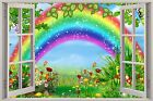 Huge 3D Window Childrens Fairytale Rainbow View Wall Stickers Decal Wallpaper