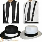 Gangster Felt Trilby Hat Braces & Tie Fancy Dress 20s Mafia Al Capone Costume