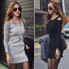 Pinup Women Sexy Open Shoulder Long Sleeve BodyCon Slim Party Evening Mini Dress