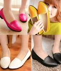 Womens Patent Almond Toe Stitching Low Heel Pumps Ballerina Dolly Shoes B-4
