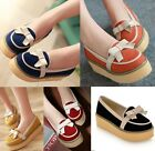Womens Spring Bow Tie Flat Casual Slip On Platform Loafers Shoes Plus Size 105