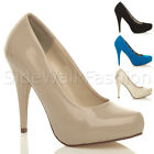 WOMENS LADIES PLATFORM PUMPS HIGH HEELS PARTY PROM WEDDING COURT SHOES SIZE