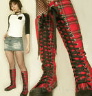 20 Hole Punk Rock Knee Hi Top Sneaker Flat Black Red Tartan Checker Plaid Unisex