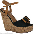 WOMENS LADIES BLACK TAN HIGH WEDGE HEEL PLATFORM SANDALS SHOES SIZE 3 - 8  F0131