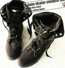 9H Ankle Punk Rock Laceup Black Faux Suede Flip Collar Sneaker Hi Top Flat Boot