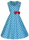 NEW LINDY BOP SWAN PRINT VINTAGE 1950's ROCKABILLY STYLE SWING DRESS FIFTIES