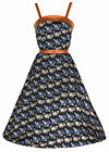 NEW LINDY BOP CHIC VINTAGE 1950's STYLE STRAPPY FLORAL PRINT BELTED FLARED DRESS