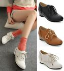 Womens Ladies Wedge Low Heel Lace Up Oxford Brogue Shoes Black/Brown/White D2