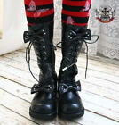 Sweet Lolita Dolly Cosplay Princess 2 Bow Tie Knot Laceup Heel Winter Boot Black