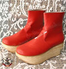 Punk Rock Gothic Men Women Rocking Horse Faux Wood Leather Platform Heel Zip