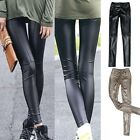 New Womens Sexy Slim Fashion Faux Leather Black Leggings Pencil Pants Trousers