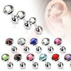 16G Gem Tragus Cartilage Helix Bar Ear Piercing Stud CHOOSE SINGLE OR BULK PACK