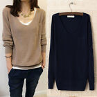 Casual V Neck Womens Cotton Knit Knitting Sweater Pullover Jumper Black Tops Q