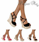 LADIES STRAPPY PLATFORM CORK WEDGE HIGH HEEL PEEP TOE SHOE SUMMER SANDAL SIZE
