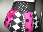 Girls Black,white,pink,silver,spots,stars,harlequin Check Cheerleader Skirt,gift