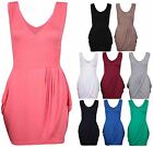 Womens New Wrap Over Tulip Ladies Sleeveless Stretch Pleated Short Mini Dress