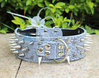New 2inch Wide GREY Spiked Studded Leather Dog Collar spikes S M L XL