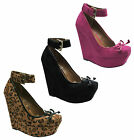 New Ladies Strappy Ankle High Heel Platform Wedge Sandals Shoes Sizes UK 3-8