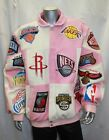 Men's NBA LIMITED EDITION Wool & Leather PATCHED ALL OVER Jacket