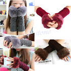 Fashion Women Fingerless Fur Winter Warm Hand  Wrist Knitted Wool Mitten Gloves