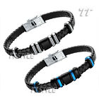 TT Black Leather 316L Stainless Steel Bangle Black/Blue/Silver (BR141)
