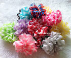 26X Kids 6.5cm DIY Print shabby Chiffon Flowers Hair accessory With/Without clip