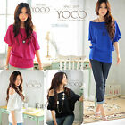 Sexy OFF-Shoulder Batwing Sleeve Loose Top Fashion Womens Casual T-Shirt Blouse