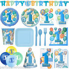 Boy's Blue 1st Birthday Party Supplies Tableware Decorations One Listing PS