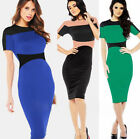 Sexy GK Formal Professional OL Slim Fit Short Sleeve Splicing Dress 4 Size XS~L