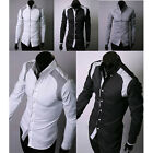 Fit Shirts 4Size 3Colors Mens Long JS PJ Brand New Sleeve Casual Slim Soft Comty