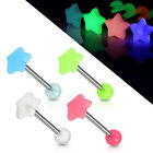 Surgical Steel UV Glow in Dark Star Tongue/ Nipple Bar Size 6mm-22mm 14GA 1.6mm