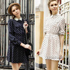 Vintage Women Elegant Long Sleeve Polka Dot Waisted Chiffon Casual Mini Dress S