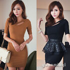 2014 Fashion Women Short Sleeve Hollow Solid Slim Sexy Party Cocktail Mini Dress