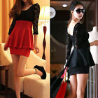 Womens Sexy Long Sleeve Lace Hollow Slim Clubwear Cocktail Party Mini Dress