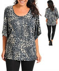Woman's Lightweight Dolman Sleeves Animal Print Sequined Top Blue 1X, 2X, 3X