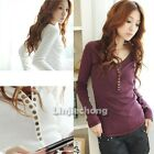 Womens V-Neck Long Sleeve Slim Fit Cotton Casual Button Tops Short T-Shirt Tee