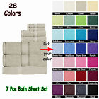 7pce Bath Set - 2 Large Bath Sheets, 2 Hand Towels, 2 Face Washers , 1 Bath Mat