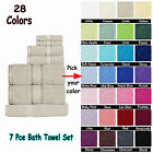 7pc Bath Set - 2 Bath Towels, 2 Hand Towels, 2 Face Washers , 1 Bath Mat -COTTON
