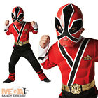 Deluxe Muscle Red Power Ranger Samurai Fancy Dress Boys Kid Rangers Costume 3-8