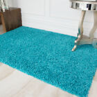 NEW SMALL X LARGE THICK SOFT TEAL BLUE SHAGGY RUGS NON SHED 5cm PILE MODERN RUGS