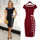 Vintage Ladies Slim Fitted Square Neck Cap Sleeve Knee-Length Dress 4 Size XS~L