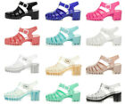 WOMENS LADIES RUBBER JELLY BLOCK FLIP FLOP MID HEEL SUMMER SANDALS SHOES SIZE