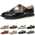 WOMENS LADIES FLAT CUT OUT MARY JANE RETRO GEEK BROGUE SCHOOL PUMPS SHOES SIZE