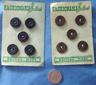 5 vintage buttons on original card FASHIONABLE BUTTONS brown or navy blue 5/8""