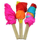 New Colorful Belly Dance Bamboo Long Silk Fans Veils 3 Colors Hand Made Silk Fan
