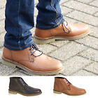 MENS CASUAL LEATHER LACE UP OFFICE WORK SMART CHUKKA ANKLE BLACK TAN BOOTS SIZE