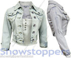 NEW DENIM JACKET LADIES Jean Jackets Womens Waistcoat Cropped Size 8 10 12 14 16