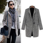 Vintage Houndstooth Winter Womens Wool Long Parka Coat Trench Outerwear Jacket Q