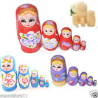 5pcs Wooden Russian Nesting Babushka Matryoshka Dolls Set Hand Painted Toy New