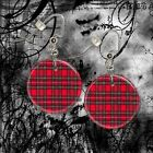 """RED PLAID  Choice Of 1"""" Button Dangle Earrings Goth  FREE PIN  USA Seller"""